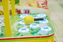 Free Side View Of Whack A Mole With Hammer For Playing In Game Arcade Royalty Free Stock Images - 150255749