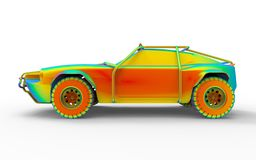 Side view of an off-road car stress analysis. 3D render illustration of the side view of an off-road car stress analysis. The composition is isolated on a white vector illustration