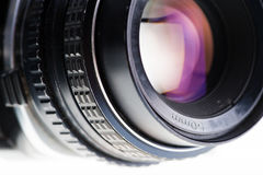 The Side view of an old analog lens Stock Photography