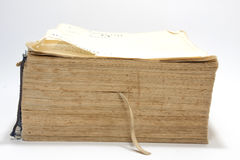 Side view of old book with yellow pages Royalty Free Stock Photography