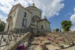 Side view of Old Church. Monument of architecture of 19 centuries. West Ukraine. Goshev. Europe stock photography