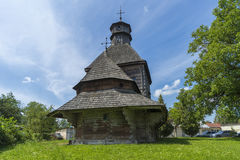Side view of the Old Church. Monument of architecture of 16-17 centuries. West Ukraine. Summer stock photo