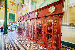 Side view of old telephone booths at Saigon Central Post Office Stock Image