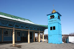 Side view of old wooden Dungan Mosque in  Karakol Royalty Free Stock Photography