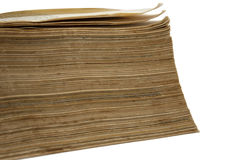 Side view of old yelow papers of the book Stock Photography