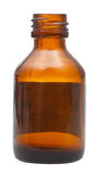 Side view of open brown glass pharmacy bottle Royalty Free Stock Image