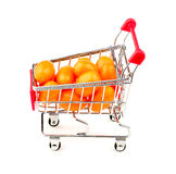 Side view of orange grape tomatoes in shopping cart Stock Photography