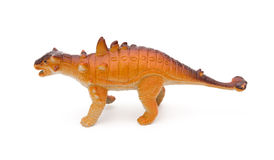 Side view orange Pinacosaurus toy on white background Royalty Free Stock Photos