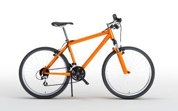 Side view of orange sport bike looks to the right isolated on wh. Ite background Royalty Free Stock Photography