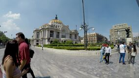 Side view of the Palace of Fine Arts in Mexico City, one of the most emblematic places in the