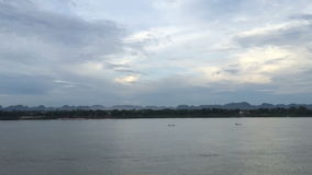 Side view panning shot of Khong river stock video footage