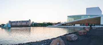 Side view panorama of the National Oslo Opera House on May 20, 2014 in Oslo, Norway Royalty Free Stock Image
