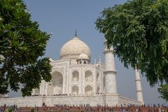 The side view of the park and Taj Mahal in Agra, India. stock photography