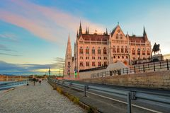 Side view of Parliament building in Budapest Stock Image
