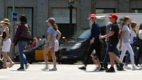 Side view pedestrians walking. Time Lapse.