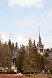 Side view of Peles Castle from Sinaia, Romania Royalty Free Stock Photo