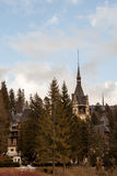 Side view of Peles Castle from Sinaia, Romania Royalty Free Stock Photos