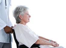 Side view of pensive senior patient in wheelchair Stock Photography