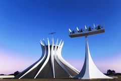 Side view photo from Brasília Cathedral. It was planned by the architect Oscar Niermeyer royalty free stock photography