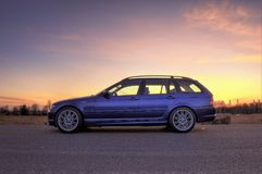 Side View Photography of Car During Dawn stock photography