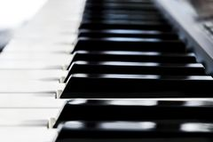 Side view of piano keys. Close-up of piano keys. Close frontal vSide view of piano keys. Close-up of piano keys. Close frontal. Side view of piano keys. Close-up royalty free stock image