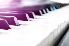 Side view of piano keys. Close-up of piano keys. Close frontal view. Piano keyboard with selective focus. Diagonal view. Piano key. Board perspective. Soft royalty free stock photo