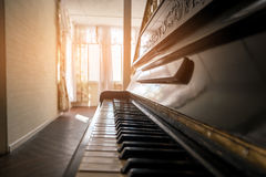 Side view of piano. stock photo