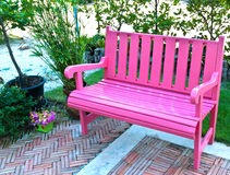 Side view of pink bench Royalty Free Stock Photography