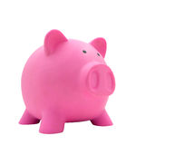 Side view of pink piggy bank made from plastic isolated. On white background for your business concept design Royalty Free Stock Images