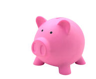 Side view of pink piggy bank made from plastic isolated. On white background for your business concept design Royalty Free Stock Photography