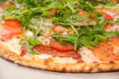 SIDE VIEW PIZZA RUCOLA VEGETABLE VEGETARIAN Royalty Free Stock Photography