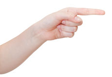 Side view of pointing index finger - hand gesture Stock Photo