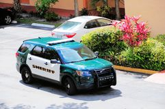 Side view of police car, Sheriff in Florida Stock Image