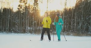 Side view portrait of active young couple carrying skis chatting on the way back in beautiful winter forest, copy space stock video