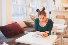 Side view portrait of attractive young girl enjoying a good book sitting comfortable interior Stock Photos