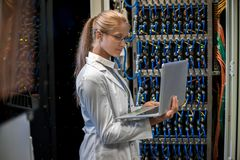 Woman Working with Supercomputer