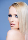 Side view portrait of blond woman Stock Images