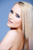 Side view portrait of blond sexy woman Stock Photos