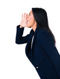 Side view portrait of a businesswoman shouting Royalty Free Stock Photography