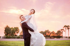 Side view portrait of happy bridegroom carrying bride on field during sunset Stock Photo
