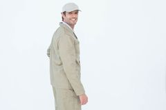 Side view portrait of happy delivery man Royalty Free Stock Photo