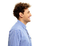 Side view portrait of a happy man. Isolated on a white background Royalty Free Stock Photos