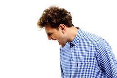 Side view portrait of a man shouting. Over white background Royalty Free Stock Image