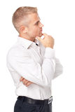 Side view portrait of pensive young man Stock Photos