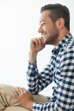 Side view portrait of smiling handsome man Royalty Free Stock Photos