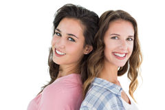 Side view portrait of two happy young female friends Royalty Free Stock Photo