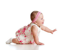 Side view of pretty crawling baby girl Royalty Free Stock Images