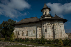Side view of Probota monastery with ruins. In Bukovina, (Bucovina), Moldavia (Moldova Royalty Free Stock Image