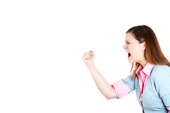 Side view profile portrait of angry woman raising fist in air Stock Images