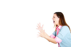 Side view profile portrait of angry woman raising hands in air Royalty Free Stock Photos